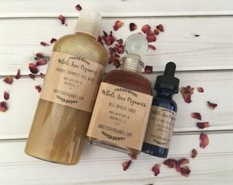 Organic Face Care Bundle - Organic Toner - Face Serum - Non Toxic Face Wash - Vegan Skin Care - Age Defying - Acne Fighter - Essential Oils