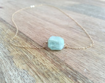 Raw Aquamarine Necklace - Aquamarine  Jewelry - Aquamarine - Aquamarine Necklace - Gift for Her - Bridesmaid Necklace