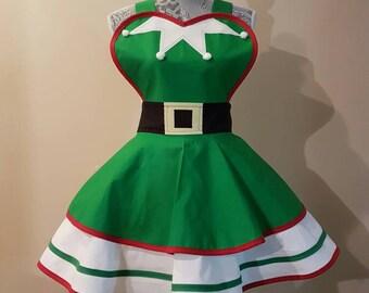Christmas - Christmas Elf - Christmas Apron - Elf Apron - Retro Apron - Costume Apron