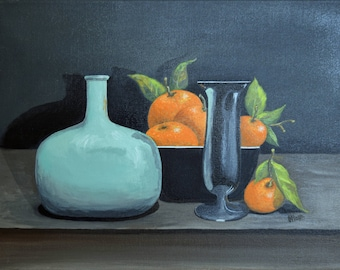 "Original Fine Art Acrylic Painting Still Life Art ""Oranges"""