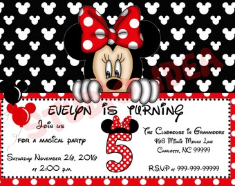 """Minnie Mouse Customized Printable Invitation-Personalized DIY Printable 5""""x7"""" or 4""""x6"""" - Baby Shower- Birthday YOU PRINT"""