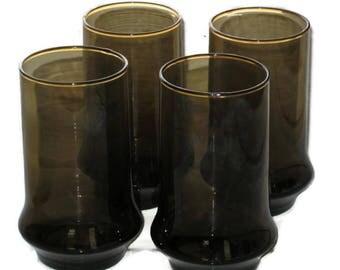 Vintage Libbey Brown Glasses Set Of 4, Smoke Glasses, Collectible Libbey, Vintage Glassware