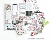 MONTHLY Planner Kit / Planner Stickers / Mini Page Marker : Rose Garden (June)