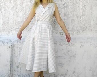 Striped sleeveless wrap dress-wrap dress-sleeveles dress-summer dress-white striped dress-midi wrap dress-womens fashion-stylish dress-dress