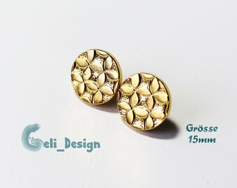 Ear plug button gold pattern floral