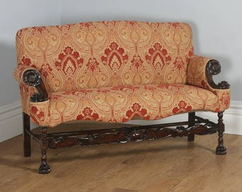 Antique French Normandy Walnut Paisley Upholstered Couch (Circa 1900)