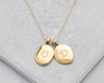 Personalised Gold Oval Initial Necklace, Personalised Gold Pendant, Oval Necklace, Oval Pendant