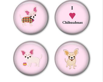 I Love Chihuahuas Pink Magnets -Set of Four Button Magnets - Refrigerator Magnets