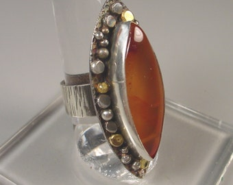 Sterling and 18K Gold Large Agate Navette Ring with Wide Textured Silver Band Statement Ring - Ebb Tide Ring