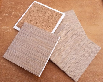 Set of Four Gold Wood Grain Sparkle Coasters / Gold Coasters / Ceramic Coasters