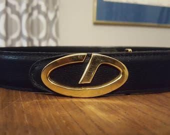 Christian Dior CD Leather Belt Size 30 #7009