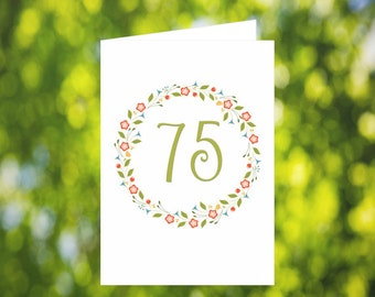 75th Birthday Card Download: Flower Wreath Birthday Card - Olive Green - Digital Download - Downloadable Card - Birthday Card for Her