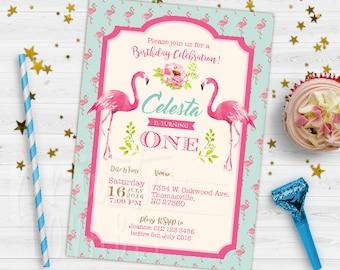 DIGITAL Flamingo Invitation, Flamingo Party, Flamingo Birthday, Girl Flamingo Invitation, Flamingo Theme Printables