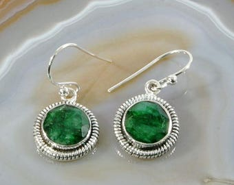 Emerald  and Silver Earrings  -- 3025