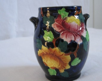 Authentic Maling Pot Vase Authentic 1930s Lovely Dark Blue, Pink & Yellow Peona Pattern #6504 Newcastle on Tyne England