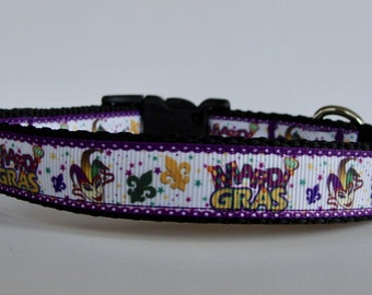 Small Dog Mardi Gras Dog Collar - READY TO SHIP!