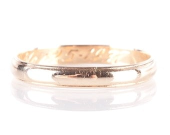 Vintage 1930's Traditional 14k Yellow Gold Wedding Band 1.9g Size 10