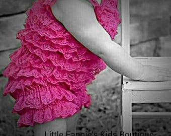 Lace Romper, Pink Lace Baby Romper, Girl Pettiromper, Baby Romper, Newborn petti romper, Lace Petti Romper, Wedding Outfit