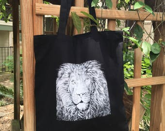 Screenprinted Canvas Tote featuring The Lion
