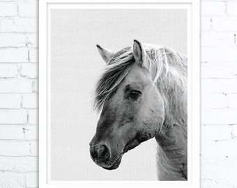 Horse Print, Horse Wall Art, Black and White, Minimalist Prints, Horse Photo, Minimalist Poster, Printable Art, Digital Printable Download