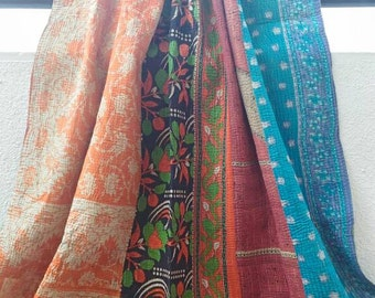 SALE!! USD 30 Off! Collectors Item!! Reversible vintage kantha quilt from India / throw/ coverlet/ boho/ hippie/ sari quilt/Ready to Ship