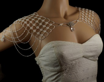 Swarovski crystal beaded bridal shoulder necklace. vintage bridal shoulder necklace. pearl wedding shoulder necklace. bridal shoulder wrap