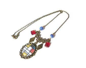 Necklace mondrian abstract art glass bead necklace