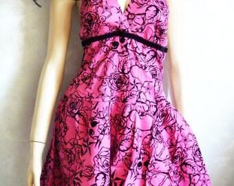 Rockabilly Skull Stars Swing Petticoat Dress 50ies Goth Lolita Dress 38