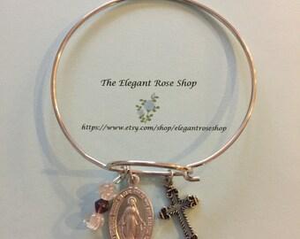 Rosary Inspired Religious Charm Bracelet