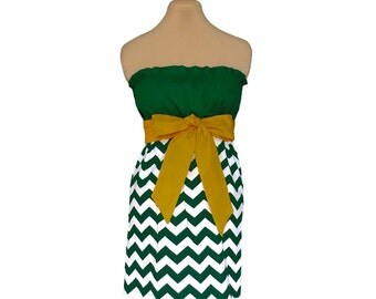 Green + Gold Chevron Game Day Dress