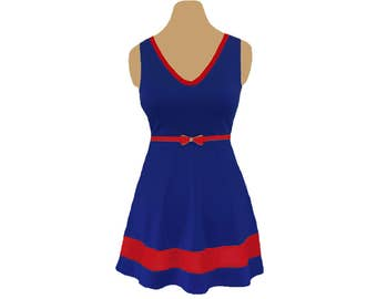 Red + Navy Skater Dress
