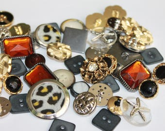 Random acrylic and metal look buttons, assorted colors shapes and sizes, small medium metal buttons, lot of 25