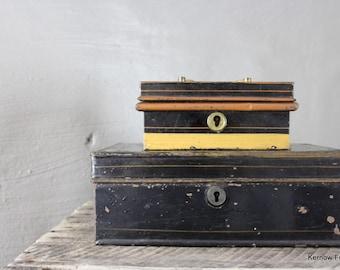 Pair Antique Small Black Tins