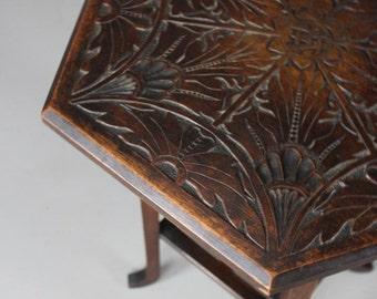Hexagonal Carved Side Table