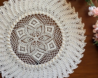 Crochet doily, natural colored, pineapple lace doilie, 15""