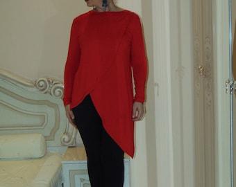 Asymmetrical top/Women's tunic top/loose top/Wrap tunic/Oversized top/Tunic top/Long tunic/Women cloting top/Elegant tunic top/-Us Uk Eu
