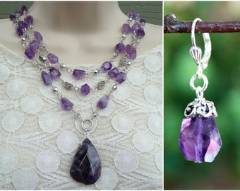 Amethyst Gemstone Pendant Necklace.Triple Strand.Dangle Earrings.Beaded.Silver.OOAK.Statement.Jewelry Set.Multi Strand.Chunky.Handmade.
