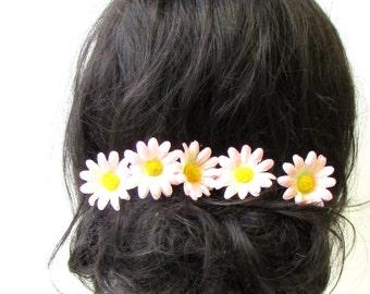 5x Light Blush Pink Yellow Daisy Flower Hair Pins Chrysanthemum Floral Set 1761