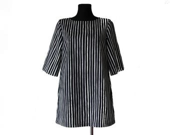 MARIMEKKO Tunic Dress  Striped Black White Cotton Dress Tunic Medium Size