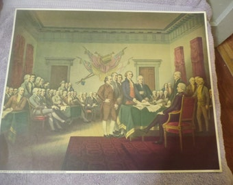 """Lithograph """"The Signing of the Declaration of Independence"""" by John Trumbull 20x16"""