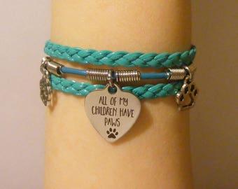 Cat mom bracelet, cat mom jewelry, dog mom bracelet, dog mom jewelry, my kids have paws bracelet, my kids have paws jewelry, fashion jewelry