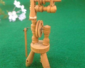 Dollhouse Miniature Wooden Spinning Wheel Vintage