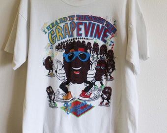 I heard it through the Grapevine VTG 80's t shirt Large classic California Raisins