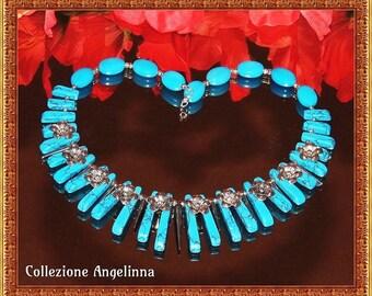 Necklace Howlite, Quartz, blue, silver, turquoise, flower, unique, Collier