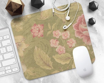 Mouse Pad Pink Flower Mousepad Green Mouse Mat MousePad Coworker Gift Her Mouse Mat Round Mousemat Vintage Mousepad Modern Desk Accessories