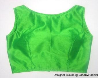lime green boat neck saree blouse in dupin / banarsi silk - designer blouse - Sari Blouse - Saree Top for women - sleeveless blouse