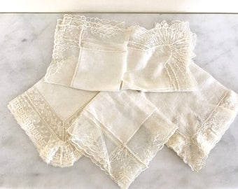 Vintage Lace Handkerchiefs / Set of 5 White Vintage Hankies / Wedding Handkerchiefs
