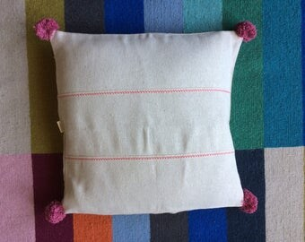 Hemp pillow with pompom, Linen cushion cover, Embroidered linen pillow, Pink