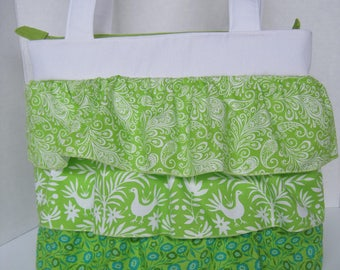 Handbag Purse Fabric Handmade Women's Accessories Ruffles Apple Green