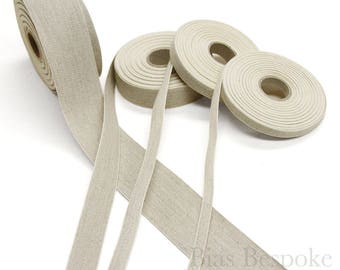 20 Meter Roll Natural Linen and Cotton Ribbon Tape in Four Widths, Made in Italy